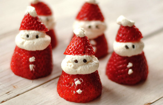 xmas food santa strawberry