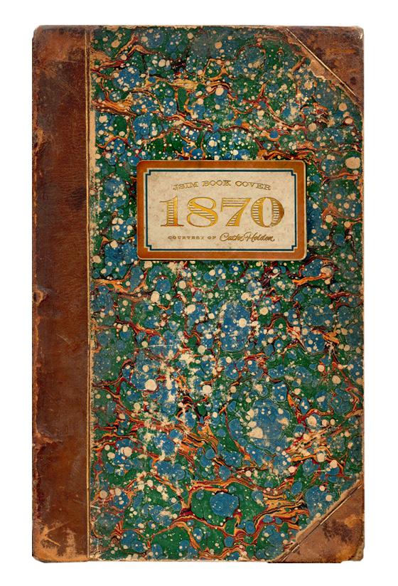 Livro de 1870 com marmorização na capa.