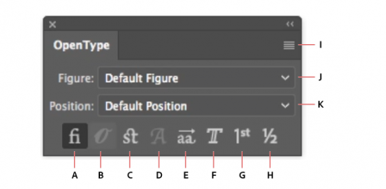 A. Standard Ligatures B. Contextual Alternates C. Discretionary Ligatures D. Swash E. Stylistic Alternates F. Titling Alternates G. Ordinals H. Fractions I. panel menu J. Figure type K. Character position