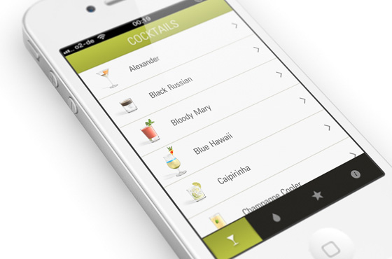Cocktail app interface