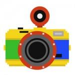Coleção de câmeras em pixel art