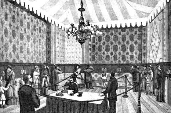 """Ilustração de """"The International Exhibition and Congress of Electricitiy at Paris"""", 1881"""