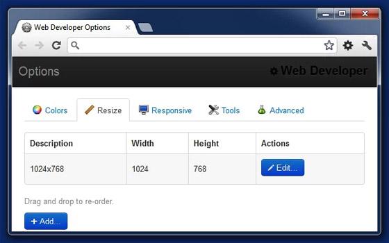 Web developer extension Chrome