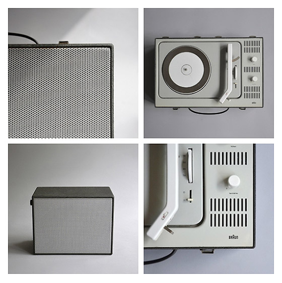 Details of the Braun PCV 4, a portable record player.