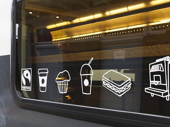 Starbucks com loja em trem na Suíça
