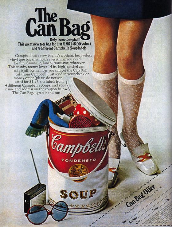 """The Can Bag"", 1969. Campbell's Soup. Imagem via."