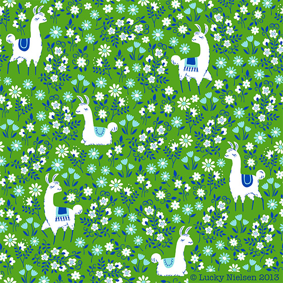 llama-pattern-green