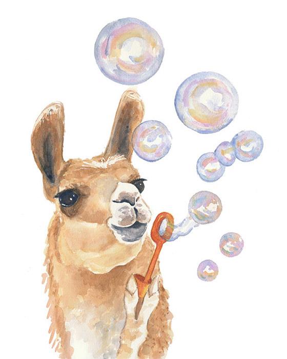 llama-watercolor