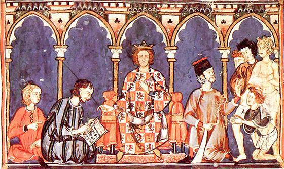 Pintura em um manuscrito medieval