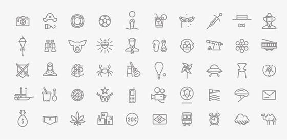 Mini ícones, complementares aos pictogramas principais.