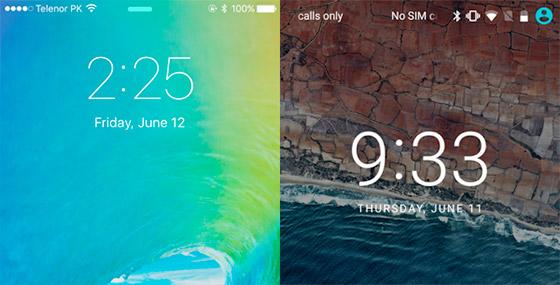 iOS 9 e Android Marshmallow lado a lado. Imagem via.