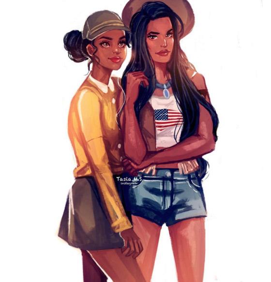 Tiana e Pocahontas