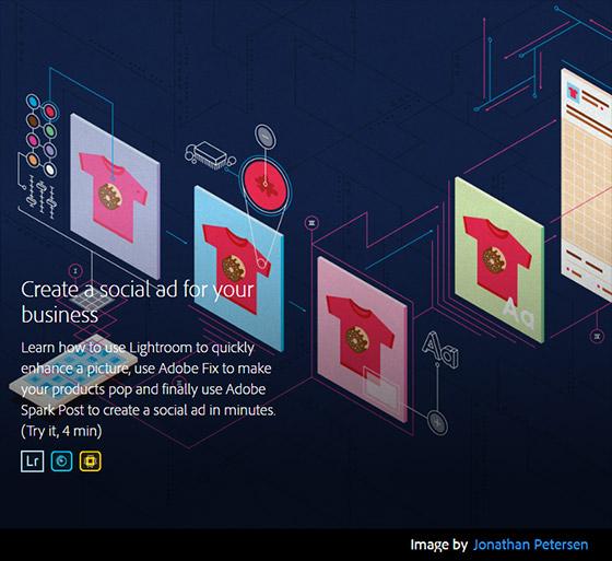 Exemplo de ilustração aplicada no site de tutoriais Adobe