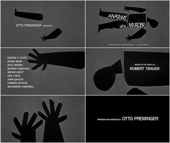 """Anatomy of a murder"" (1959), abertura por Saul Bass."