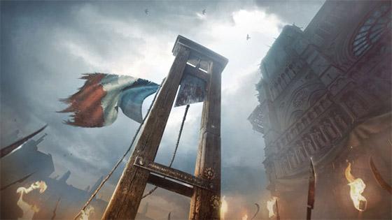 Belíssima arte do jogo Assassin's Creed que representa bem a  guilhotina.