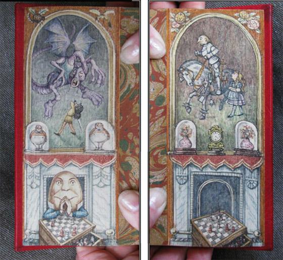 """Pintura dupla, por Martin Frost, no livro de Lewis Caroll, """"Alice através do espelho""""."""