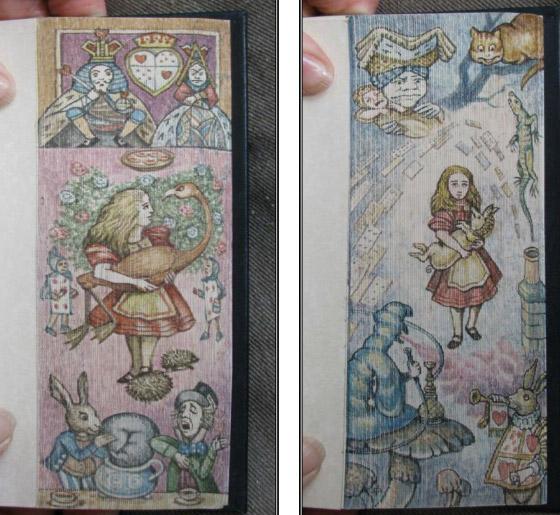 """Pintura dupla em exemplar original de Lewis Carroll, """"Alice no país das Maravilhas""""."""