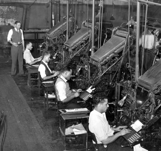 Operadores de Linotipo em Chicago.