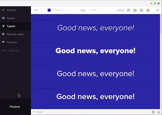 O FontBase tem uma das interfaces mais interessantes e bonitas, além de integração com a plataforma Typekit de fontes.