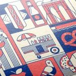 Minimalismo e outline: cartões postais e pontos turísticos em forma de pictogramas