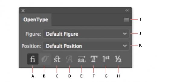 A. Standard Ligatures B. Contextual Alternates C. Discretionary Ligatures D. Swash E. Stylistic Alternates F. Titling Alternates G. Ordinals H. Fractions I. panel menu J. Figure type K. Character position